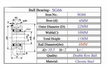 Подшипник U-образный SG66 (6*22*10)