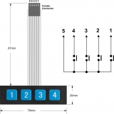 Клавиатура мембранная 1x4 (размеры)