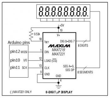 Схема подключения MAX7219