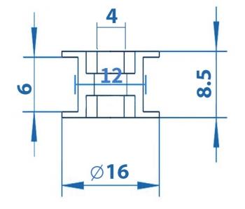 Ролик натяжной 4мм (гладкий, 6мм ремень)