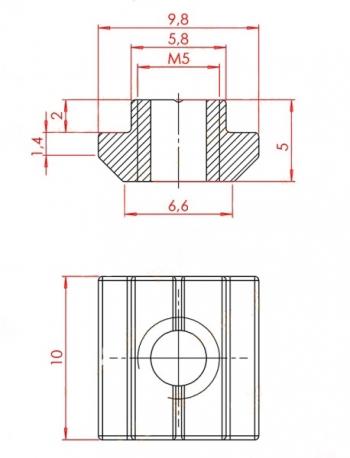 Гайка-сухарь М5 паз 6мм
