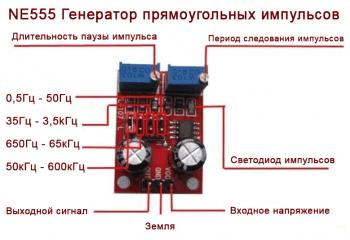 Описание модуля генератора прямоугольных импульсов NE555 (распиновка)