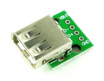 Гнездо USB-A на плате